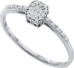 10KT White Gold 0.07CTW DIAMOND CLUSTER RING: Rings