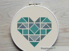 A geometric heart pattern in my personal favorite colors. This pattern is a little bit smaller than my other geometric heart pattern. https://www.etsy.com/listing/207217668/geometric-modern-cross-stitch-pattern?ref=shop_home_active_15 Choose the one you prefer! Also available as a set of 3 geometric hearts, see: https://www.etsy.com/listing/209558987/geometric-modern-cross-stitch-pattern?ref=related-0 Try different color combinations and fabrics to create a new look every time! The…