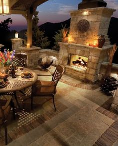 Outdoor Fireplaces are really beautiful and add a lot of style and warmth to your yard.  A lot of people are starting to do fire pits in their back yard, but this large, substantial fireplace bring...