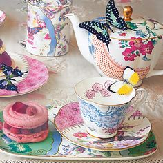 Wedgewood butterfly cup and saucers2 Perfect Tea Party Crockery from Wedgewood