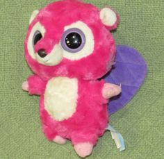 "Aurora PINK Beaver YOOHOO & Friends 8"" Purple Tail Plush Stuffed Animal Big EYES #Aurora"