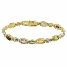 18k Gold over Sterling Silver Multi Gemstone & Diamond Accent Link Bracelet SilverSpeck.com. $34.99. Measures 6.55mm W, 7.25 Inches Long. Weight 15.2 Grams. Save 68%!