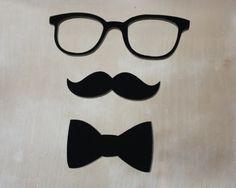 Acrylic Dapper Gentleman, Geek Glasses, Mustache, and Bow Tie. $8.00, via Etsy.