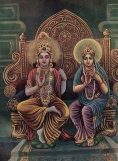 Rama and Sita, printed in The Divine Life Magazine in 1946 Indian Gods, Indian Art, Lord Rama Images, Sri Rama, Lord Ganesha Paintings, Lord Shiva Family, Krishna Art, Radhe Krishna, Shree Krishna