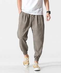 New Mens Pants Stripe Casual Boot Cut Loose Fit Summer Trousers College Fashion