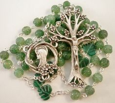 Handmade Catholic Rosary, Carved Green Aventurine, Pewter Dogwood Tree of Life Crucifix and Center Set Rosary Prayer, Praying The Rosary, Holy Rosary, Rosary Catholic, Prayer Beads, Irish Catholic, Rosary Bead Tattoo, Rosary Beads, Rosary Bracelet