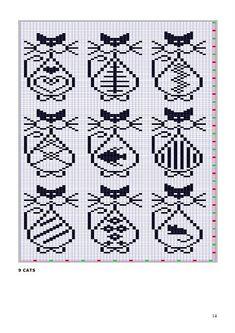x stitch cats Knitting Charts, Knitting Stitches, Knitting Patterns, Crochet Patterns, Loom Patterns, Chat Crochet, Crochet Chart, Filet Crochet, Cross Stitching