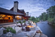 Sits on the Weber River in Utah. Owners designed the main house so every room has a river view. (WSJ Open House - WSJ.com)