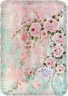 Vintage music sheets, Texture and pastels for a shabby chic, rambling rose canvas Artwork by Tracey White rosepetalspast.blogspot.com.au