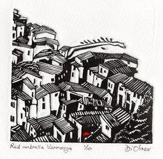 Red Umbrella Vernazza Linocut 12 x 12 cms Edition of 10 www.dioliver.co.uk