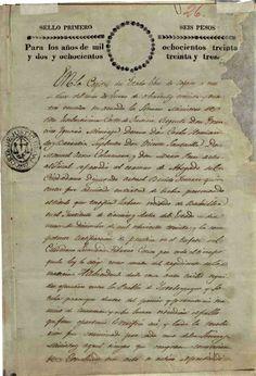DOCUMENTO-105. hoja 1 de 4.- Copia del título que autoriza a Benito Juárez para ejercer como abogado, una vez aprobado el examen respectivo ante los ministros de la Corte de Justicia del Estado de Oaxaca.  Oaxaca, 13 de enero de 1834 Benito Juárez, vol. 1, exp. 7, 4 fs. ~ AGN