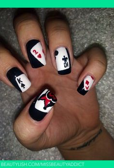 Black Card Nail Design