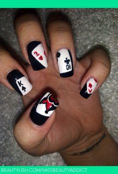 Black Card Nail Design