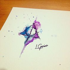 deathly hallows watercolor