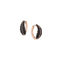 Mimi So Phoenix Black Diamond Hoop Earrings (Small) 18kt Oxidized Rose Gold