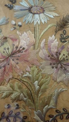 French silk embroidery bouquet, 19th century