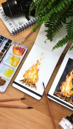 Watercolor Campfire Painting - A quick video of how I paint a quick watercolour campfire. Watercolor Painting Techniques, Watercolour Tutorials, Watercolor Drawing, Watercolor Paintings, Watercolor Sunset, Paintings I Love, Painting Art, Arte Sketchbook, Art Drawings Sketches