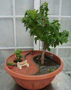 Park theme potted plant.