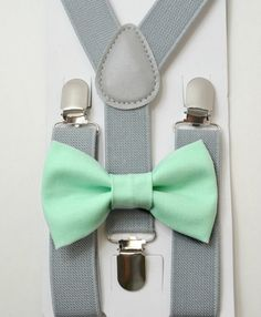 Mint Blue Adult Elastic Adjustable Clips-on Suspender Bowtie Combo Wedding
