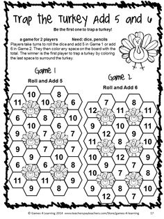 NO PREP game from Thanksgiving Math Games First Grade by Games 4 Learning Lots of fun, Thanksgiving math for first grade. $