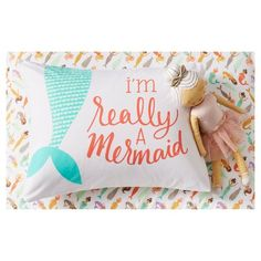 For a simple way to let your child feel special, let them lay their head on the I'm Really A Mermaid Pillowcase (Standard) White from Pillowfort. This kids' mermaid pillowcase features a pretty script and the tail of a mermaid. Mermaid Bedding, Mermaid Bedroom, Mermaid Nursery, Girl Nursery, Big Girl Bedrooms, Little Girl Rooms, Girls Bedroom, Fantasy Bedroom, Magical Bedroom