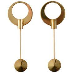 Arthur Pe 3 pair Wall Brass Candlesticks Handmade by the Artist, Sweden 1