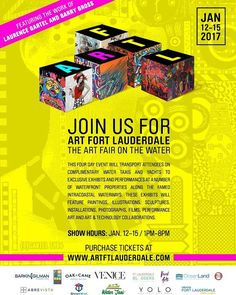 We cordially invite you to join us for ART FORT LAUDERDALE a revolutionary Art Fair experience incorporating multiple different exhbits which will provide a new an innovative approach to view and interact with art. It will be an outlet that will give artists the opportunity to showcase and sell their work in ways they've never showcased before whether they are independent or being represented by a gallery.  This four day event will transport attendees on complimentary water taxi and yachts…