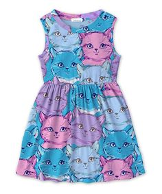 Take a look at this Sunshine Swing | Turquoise & Pink Cat A-Line Dress - Toddler & Girls today!