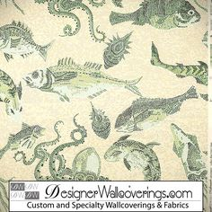 Under the Sea Wallpaper - Mosaic Tile Effect  [PAL-42023] W Collection Screen Prints 1/13 | DesignerWallcoverings.com ™ - Your One Stop Showroom for Custom, Natural, & Specialty Wallcoverings | Largest Selection of Wall Papers | World Wide Showroom | Wallpaper Printers