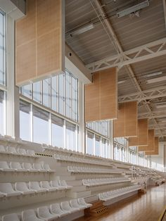 Image 18 of 24 from gallery of Gymnasium Plabennec / Bohuon Bertic Architectes. Photograph by Patrick Miara Gymnasium Architecture, Space Architecture, School Architecture, Home Design, Home Interior Design, Medan, House Ideas, Minimalist Home, School Design