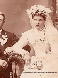 1890 Newly Married Iowa Couple...This is the most unhappy bride I think I've ever seen!