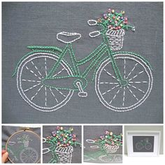 Bicycle Embroidery Kit {grey+mint}