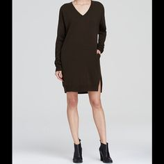 💋VINCE Wool Cashmere LBD V Neck Sweater Dress NWT Elegant and chic yet so wearable, this dark charcoal/black tunic style dress from Vince looks fantastic with bare legs, tights, or leggings. V neckline, side slit pockets, back pleat and ribbed trim. Wool/cashmere, NWT in XS. Retail $395. Vince Dresses