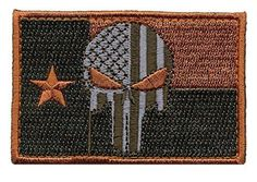Patch Squad Men's Tactical Texas lone Star Bleeding Punisher Flag Patch