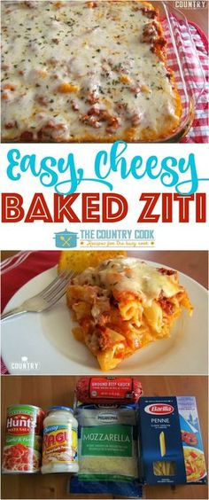Easy Baked Ziti recipe from The Country Cook (Easy Baking Dinner) Ziti Al Horno, Easy Baked Ziti, Baked Ziti Chicken, Cheesy Baked Spaghetti, Baked Ziti With Ricotta, Rigatoni, Casserole Recipes, Baked Pasta Recipes, Pasta Casserole