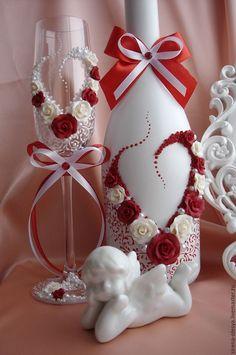"""Купить Свадебный комплект """"Сердечко"""" - ярко-красный, свадебные аксессуары, свадебные бокалы, свадебное шампанское"""