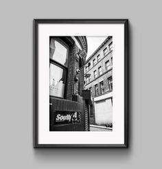 Black and white landscape photograph of South Club Manchester / urban / cityscape / wall art / home decor / photography / Cottonopolis