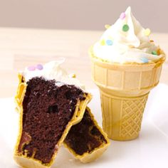 So cute! Bake brownies right inside of ice cream cones for kids....