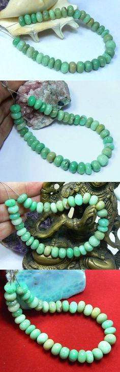 Other Jade 10231: 35 Rare Natural Australian Green Chrysoprase Rondelle Beads 8-9Mm 7.5 Strand BUY IT NOW ONLY: $59.99