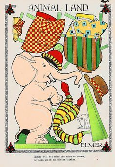 Vintage Paper Doll, Animal Land, Elmer the Elephant Vintage Paper Dolls, Vintage Toys, Elmer The Elephants, Circus Crafts, Circus Decorations, Paper Art, Paper Crafts, Paper People, Paper Dolls Printable