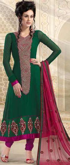 Green Faux Georgette #Churidar #Kameez | $98.65