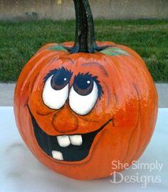 Super cute painted Halloween pumpkin faces!
