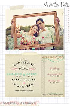 I want to have some frames like this so people can have fun and take pictures with  Vintage Save the Date invitation  www.memento-designs.com