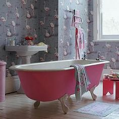 The Flamingos remind me of Emmy Bug. One day this will be the guest bathroom for when the girls visit.