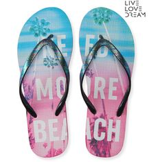 Aeropostale LLD More Beach Flip-Flop ($8) ❤ liked on Polyvore featuring shoes, sandals, flip flops, black, black sandals, beach shoes, black rainbow sandals, polka dot sandals and rainbow shoes