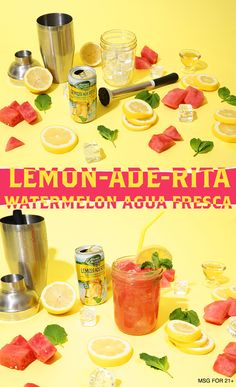 The Lemon-Ade-Rita Watermelon Agua Fresca is a simple, delicious recipe that will be a hit at your next fiesta! 1) Muddle 3-4 chunks of watermelon with a dash of agave nectar in a mixing glass. 2) Add ice, seal and shake vigorously until chilled. 3) Add Lime-A-Rita and pour into glass. 4) Stir, garnish and serve.