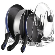 """Chrome Cookware Organizer - hang vertically or lay horizontally - The Container Store > 12 1/4""""x8 3/4 x 9 3/4""""h - $20"""