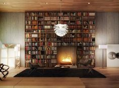 home_library_fireplace