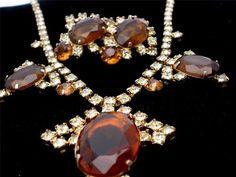 Runway Peridot Topaz Prong Set Rhinestone Necklace Earrings Demi Set Vintage | eBay