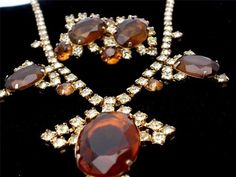 Runway Peridot Topaz Prong Set Rhinestone Necklace Earrings Demi Set Vintage | eBay